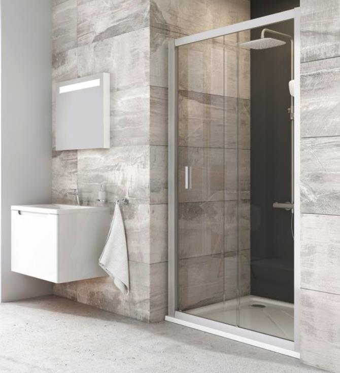 shower door BLDP2, 1200 mm, h=1900, white/clear glass