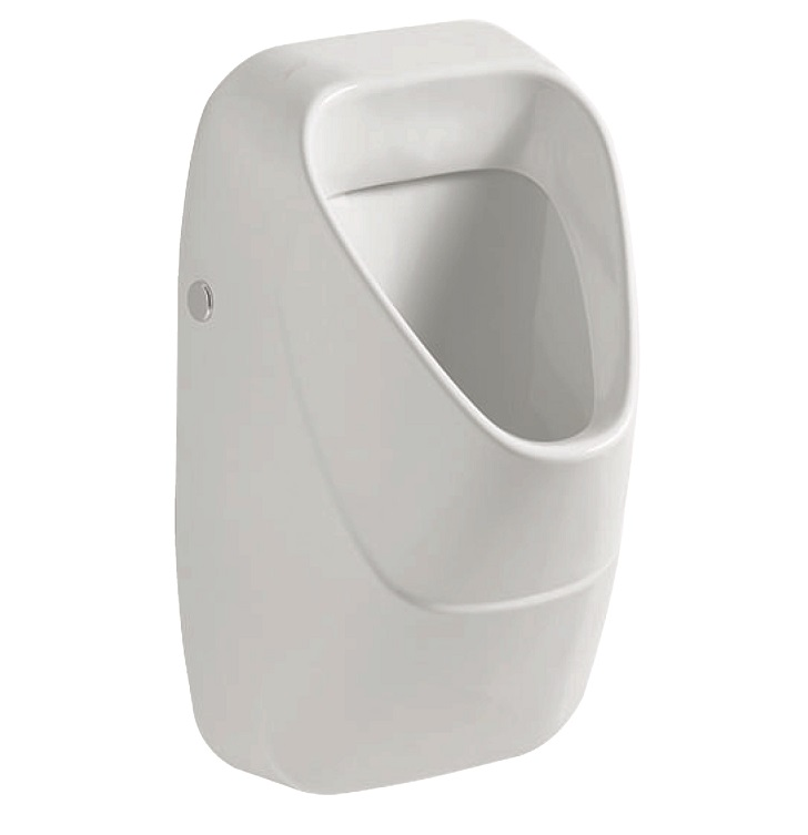 urinal Alivio, with drain strainer, inlet from the rear, white