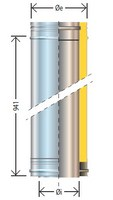 Insulated Flue pipe D200, 1000mm