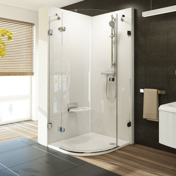 shower enclosure for corner entry BSKK3, 900x900 mm, h=1950, r=500, w/o B set, right, chrome/clear glass