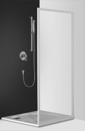 shower wall LLB, 800 mm, h=1900, brilliant/transparent