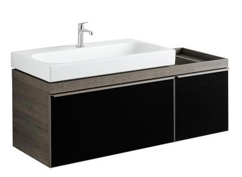 izlietnes skapītis Citterio, 1334x504 mm, h=554 mm, 2A, glass black/oak grey-brown