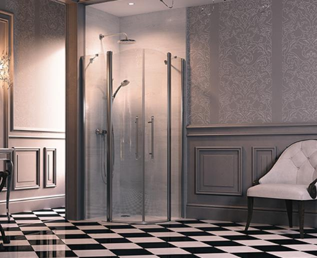 shower door for corner entry Design victorian, 900 mm, h=1930, r=500, right, chrome/clear glass