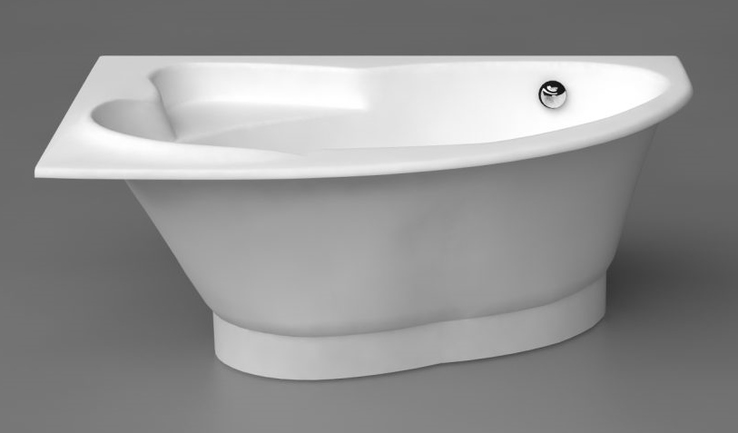 bathtub Orte, 1690x1120 mm, with drain-overflow, right side, white