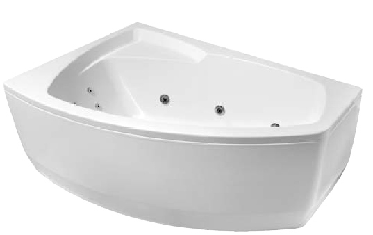 bathtub Rhea, 1490x1000, with frame, panel and waste, massage system S3, white